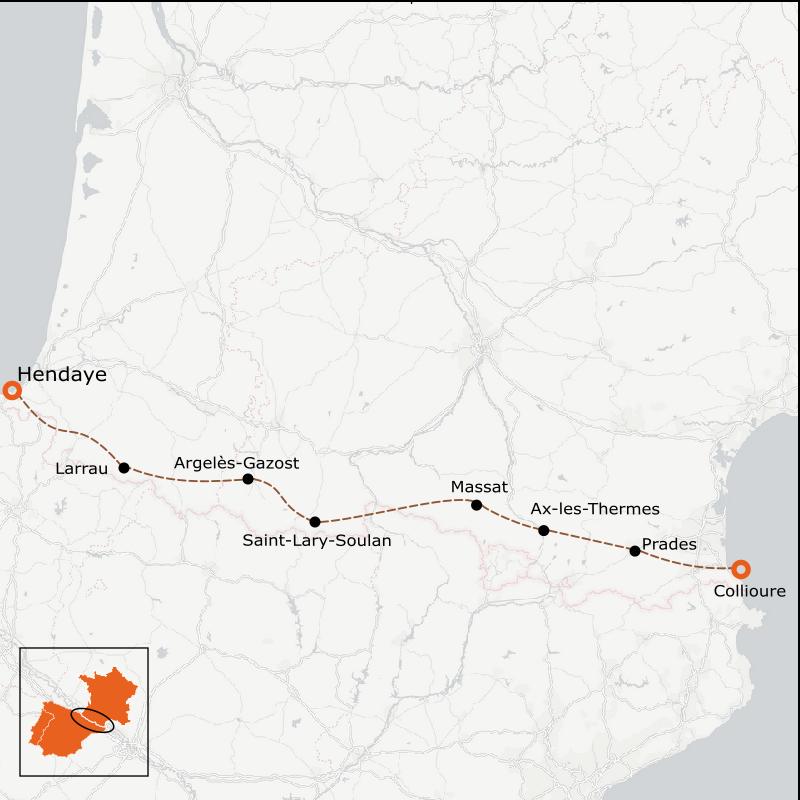 carte traversée des pyrénées à vélo Traversée Pyrénées en Vélo : L'Orientale (7 jours) | La Rébenne