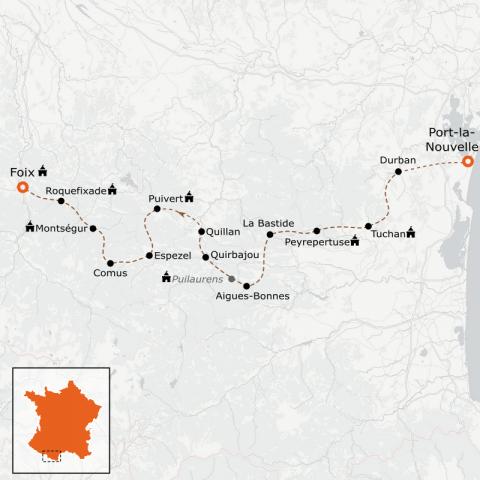 LaRébenne - Randonnée - Intégrale du sentier Cathare (de Port-la-Nouvelle à Foix)