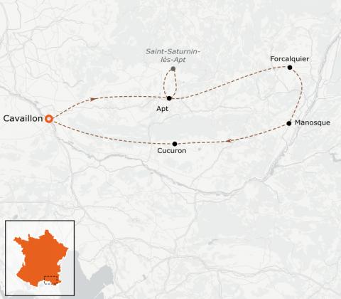 LaRébenne - VTC - Le Lubéron en vélo - Boucle au départ de Cavaillon
